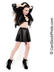 Stunning Brunette In Black Leather - Stunning young brunette...