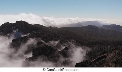 Stunning cinematic view from a height - a drone flying over a valley on the island of Gran Canaria: pine forest, volcanic land and beautiful mountains