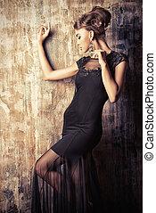 stunning female - Stunning female model in black evening...