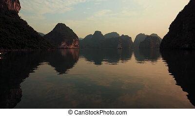 Stunning Ha Long Bay at Sunset - Vietnam. October
