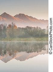 Stunning high peak reflection in lake and autumn foliage