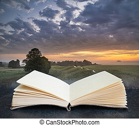 Stunning inspirational Summer sunrise landscape image over English countryside with mist hanging in fields coming out of pages in imaginary book