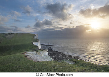 Stunning landscape image of Beachy Headt lighthouse on South...