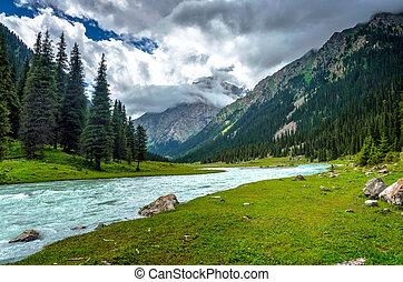 Stunning landscape of Karakol national park, Kyrgyzstan