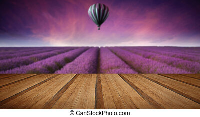 Stunning lavender field landscape Summer sunset with hot air...