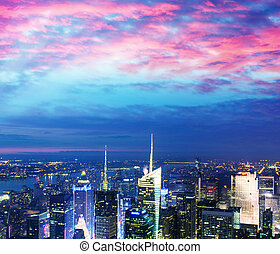 Stunning Manhattan skyline after sunset, NYC