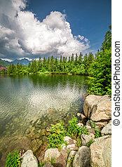 Stunning mountain lake in Strbske Pleso in summer