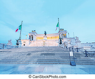 Stunning night colors of national monument to Vittorio Emanuele