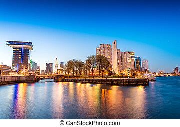 Stunning night skyline of Rotterdam, The Netherlands