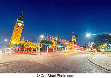 Stunning night view of Big Ben and Westminster Palace from Parliament Square, London - UK
