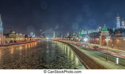 Stunning night view of Kremlin in the winter, Moscow, Russia...