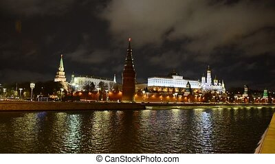 Stunning night view of Kremlin in the winter, Moscow, Russia