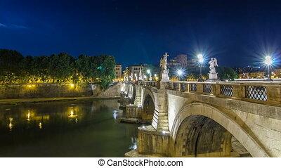 Stunning Ponte Sant'Angelo bridge timelapse hyperlapse crossing the river Tiber near Castel Sant'Angelo in Rome.