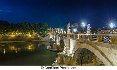 Stunning Ponte Sant'Angelo bridge timelapse hyperlapse crossing the river Tiber near Castel Sant'Angelo in Rome.