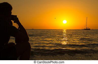 stunning sea sunset orange