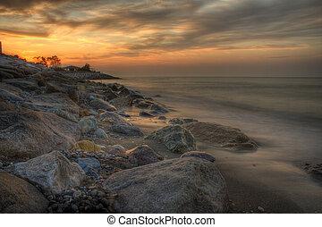 stunning seascape at sunset - Stunning sunset over the sea