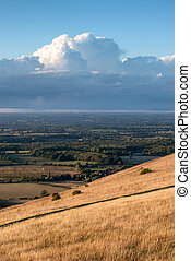 Stunning Summer sunset landscape image of South Downs...