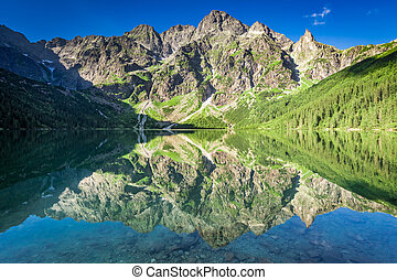 Stunning sunrise at lake in the Tatra Mountains, Poland