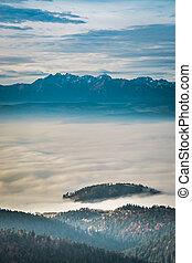 Stunning sunrise in the Tatra Mountains in autumn
