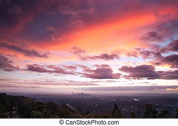 Stunning sunrise over the city of Brisbane, QLD, Australia
