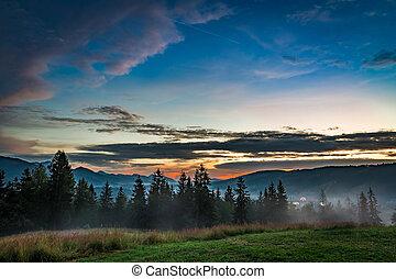 Stunning Sunset in Tatra mountains, Zakopane, Poland, Europe