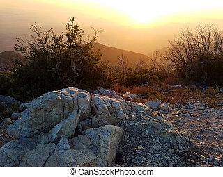 Stunning sunset on the top of Mount Lowe, San Gabriel Forest, Los Angeles County