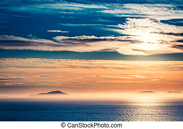 Stunning sunset over sea as background