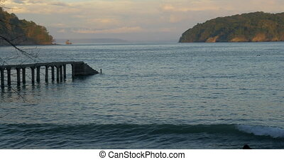Stunning Sunset View At Puntal Coral, With Pier In Front,...
