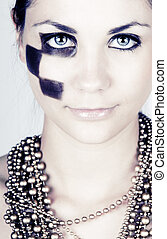 Stunning Teenager with High Fashion Makeup - Close Up Beauty...