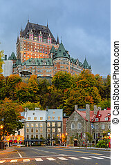 Stunning twilight view of Old Quebec City in autumn season, Quebec, Canada
