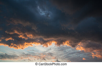 Stunning vibrant stormy cloud formation background