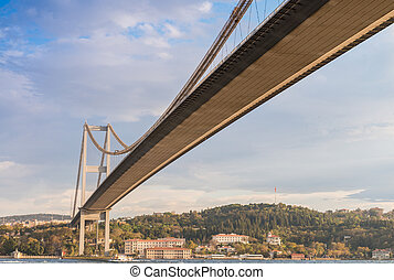 Stunning view of Bosphorus Bridge from cruise ship, Istanbul