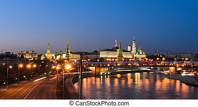 Stunning view of Moscow Kremlin - Panorama night view of...