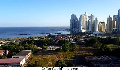 Stunning view of Panama City skyline with the pacific ocean...