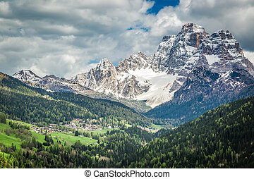 Stunning view of small town in Dolomites