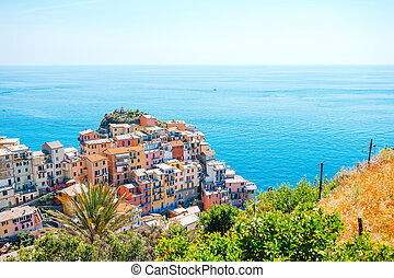 Stunning view of the beautiful and cozy village of Manarola in the Cinque Terre Reserve