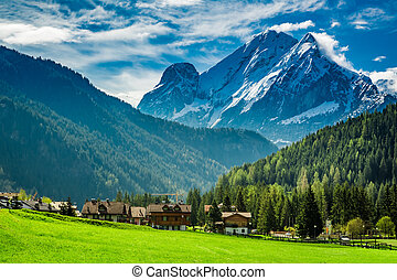 Stunning view to valley in Dolomites, Alps, Italy, Europe