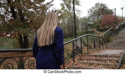 Stunning woman climbing staircase in autumn park - Charming...