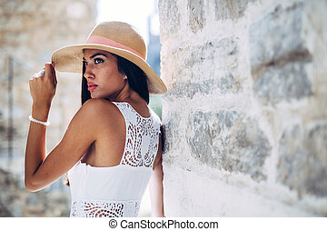 Stunning woman posing in summer