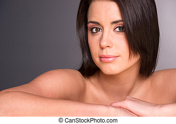 Stunning Young Beautiful Woman Close Up Portrait Head Shoulders