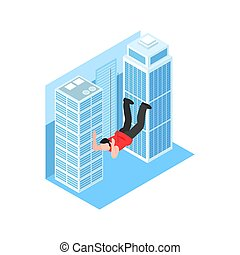Isometric cinematography composition with isolated character of stunt boy falling at tall buildings vector illustration