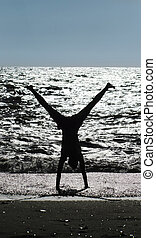 stunt, ligado, praia