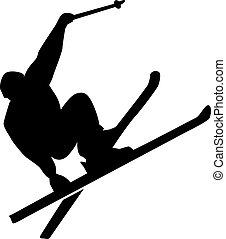 stunt, silueta, esqui