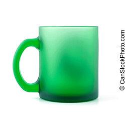 stuoia, tazza, isolato, vetro, verde bianco