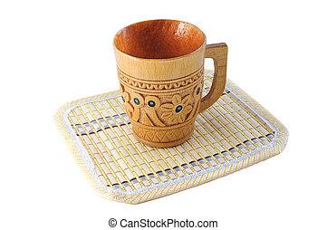 stuoia, tazza, legno, modello, isolato, intagliato, fondo, bambù, bianco