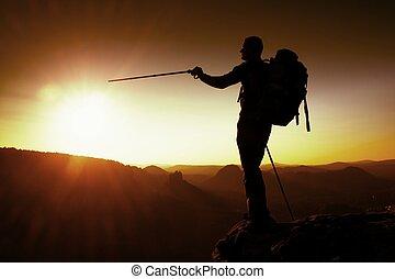 stupéfiant, inversion., randonneur, profond, beau, peak., ...