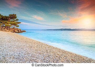 stupéfiant, makarska, sur, coucher soleil, brela, mer, dalmatie, croatie
