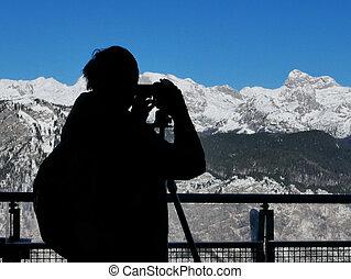 stupéfiant, silhouette, lanscape, photographe, capturer, mâle, paysage