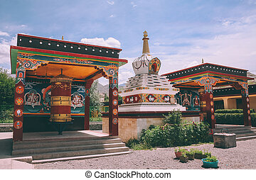 stupa and ancient religious buildings in Leh city, Indian Himalayas