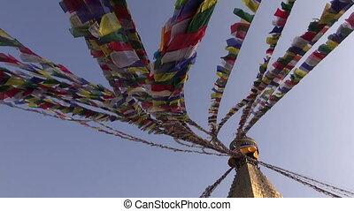 stupa, boudhanath, drapeaux, ancien
